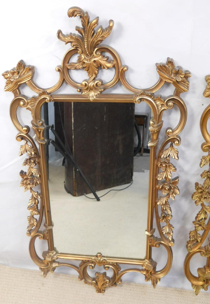 Pair Ornate Gilt Framed Hanging Wall Mirrors Sold